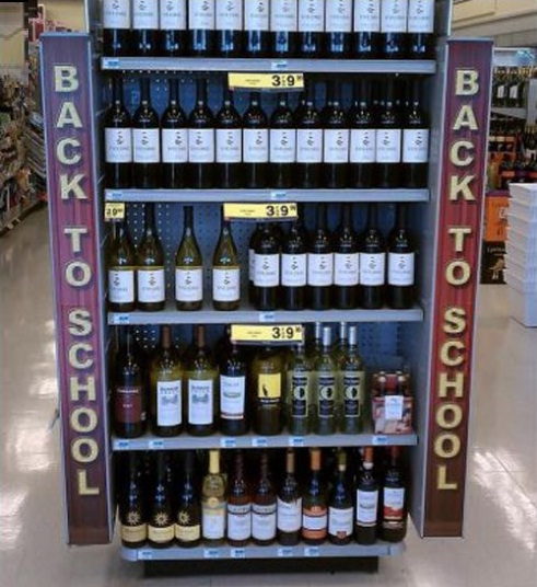 back to school supplies wine sign